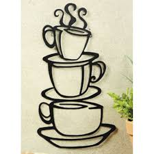Metal Home Decor Coffee House Cup Java Silhouette Wall Art Metal Mug Kitchen Home