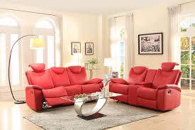 homelegance talbot double reclining sofa in red leather beyond