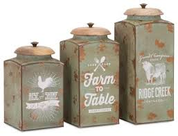 metal kitchen canisters farmhouse lidded canisters set of 3 farmhouse kitchen