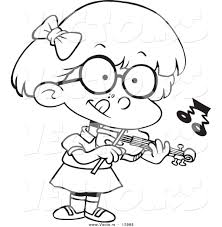 vector of a cartoon little standing and playing a violin