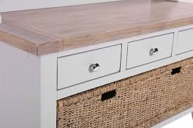 buy chalked oak and light grey hall tidy bench with coat rack