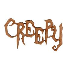 creepy laser cut wood word for altered and craft projects