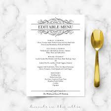 brunch wedding menu calligraphic wedding brunch menu template wedding menu cards