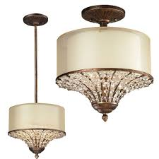 elk 11700 3 crystal spring spanish bronze flush mount lighting