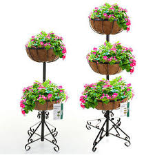 2 or 3 tier flower fountain with coco liners black metal garden