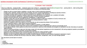 marine engineer work experience letters