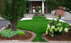 garden and patio side yard house design with stone footpath
