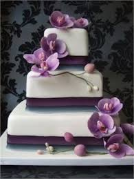 Wedding Cakes Square Wedding Cake With Purple Moth Orchids From Love U0026 Laughter
