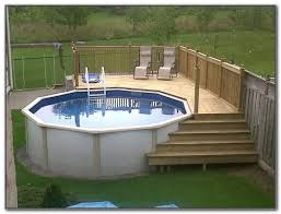 above ground pool with deck kit decks home decorating ideas