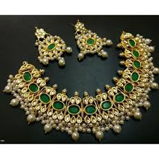 stone set necklace images Green stone wedding women partywear necklace jewelry set nageenon jpg