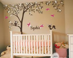 owl bird blossom personalize name custom tree wall decals baby
