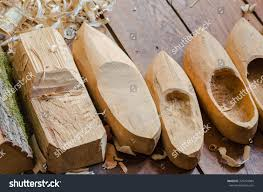manufacturing steps traditional wooden shoes called stock photo