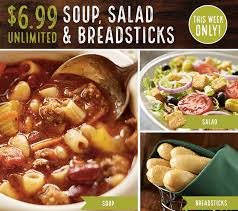 olive garden 6 99 soup salad and breadsticks lunch thru 5 9