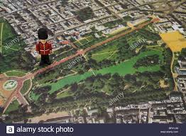 Birds Eye View Map Mini Royal Guardsman Figurine On Top Of A Aerial View Map Of Stock