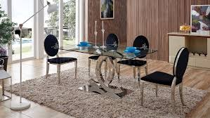 151 dining table by esf w clear glass top optional 110 chairs