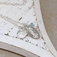 name charm handmade personalised silver name charm necklace with birthstone