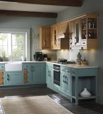 Blue Shabby Chic Kitchen by Handmade Oak Kitchens Showroom In Hampshire Deane Interiors