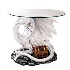 White Accent Table Dragon Treasure Glass Topped Sculptural Table With Round Glass