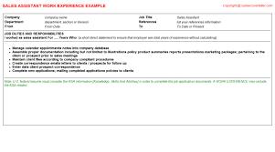 resume sales assistant responsibilities