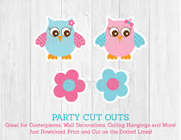 cute pink u0026 blue owl cut outs owl baby shower owl baby