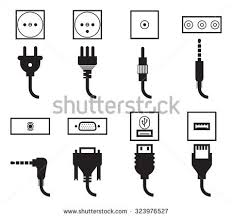 electric outlet plug icons set energy stock vector 323976527