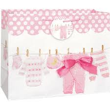 baby shower gift bags clothesline baby shower gift bag 13 x 10 5 in pink 1ct walmart