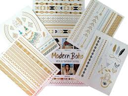amazon com modern boho 5 sheets metallic tattoos flash gold