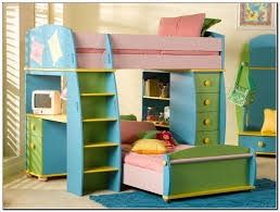 colorful painted pine wood bunk bed with staircase of stylish bunk