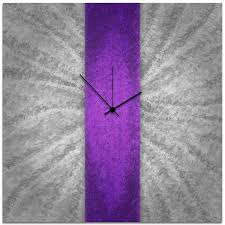 abstract clocks purple wall clock grey and violet decor u0027violet stripe clock
