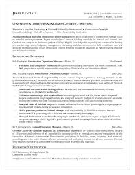 Sport Management Resume Free Construction Management Resume Templates Download