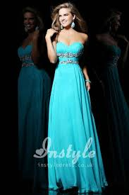 strapless turquoise chiffon long prom dress with beaded waistline