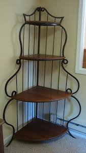 Baker Racks Furniture Inspiring Amish Corner Bakers Rack Design Gorgeous