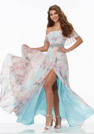 floral prom dress with off the shoulder neckline style 99024