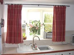 kitchen with long window curtains instructions to hang kitchen