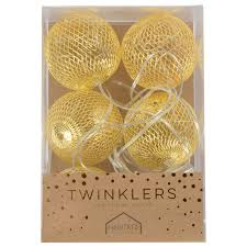 twinklers indoor led light string large gold balls at mighty