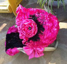 pink and black cars 3d rosette flowers fuschia pink and black reupholstered car