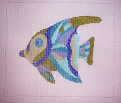 background stitch create needlepoint pink tropical fish