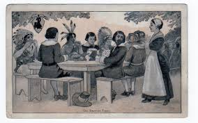 thanksgiving indians and pilgrims old postcard the harvest feast indians pilgrims thanksgiving