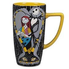 disney store skellington and sally coffee mug cup