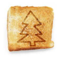 toasted slice of white bread with christmas tree royalty free