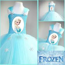 tutu dress themed character frozen blue elsa dress with printed