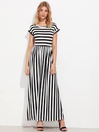 contrast striped full length dress shein sheinside