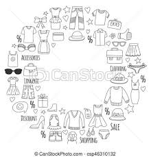 doodle drawings for sale sale shopping market shop discount vector set of