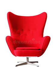 Modern Red Classic Armchair Isolated On White Background Clippi