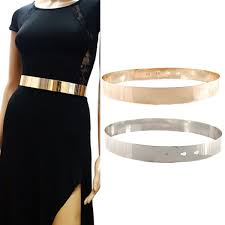 waist band women adjustable metal waist belt metallic bling gold plate slim