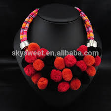 handmade fashion necklace images Winter embroidery colorful handmade thread ball necklaces trendy jpg