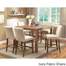 Compact Dining Table by Furniture Of America Seline 7 Piece 48 Inch Counter Height Dining