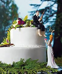 amazon com hooked on love cake toppers bride and groom set