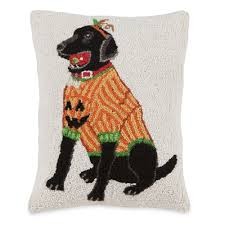 halloween pillow halloween black lab hooked wool pillow sturbridge yankee workshop