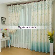 Light Linen Curtains Country Thick Linen White And Light Blue Floral Custom Bedroom